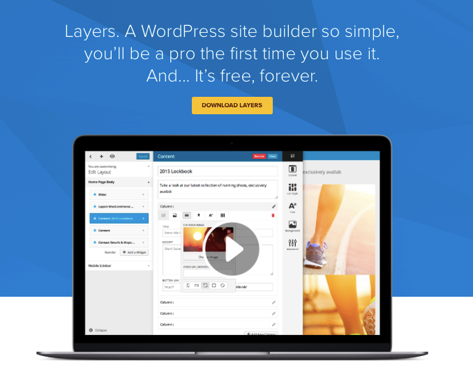 Free website builder WordPress Layers is easy to install.